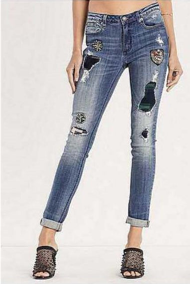 MISS ME ANKLE SKINNY JEANS PATCHES