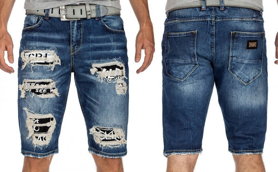 CIPO & BAXX MENS DENIM SHORTS WITH CUTOUT FEATURES, DENIM, BLUE
