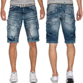 CIPO& BAXX MENS DENIM SHORTS, CARGO, BLUE