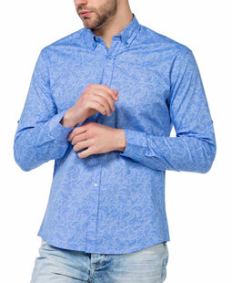 CIPO & BAXX MENS DRESS SHIRT, LEAF PATTERN, BLUE