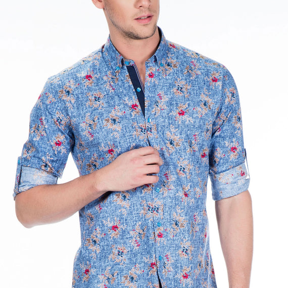 CIPO & BAXX MENS DRESS SHIRT, FLORAL PATTERN, BLUE