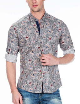 CIPO & BAXX MENS DRESS SHIRT, FLORAL PATTERN, GREY