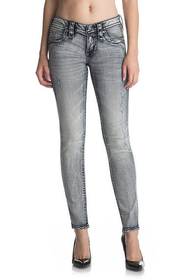 ROCK REVIVAL MOON AK206 ANKLE SKINNY MOTO JEANS