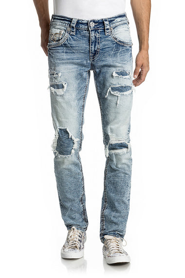 ROCK REVIVAL PRITCHARD A201 MENS ALT STRAIGHT DENIM JEANS, FAUX FLAP