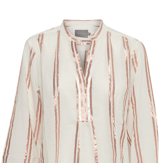 CULTURE VERNIL BLOUSE V NECK, LONG SLEEVE V NECK, METALLIC ROSE GOLD STRIPES