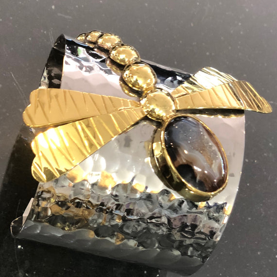 URSULA STAINLESS STEEL CUFF W/ BRASS DRAGONFLY & BROWN DRUZY STONES