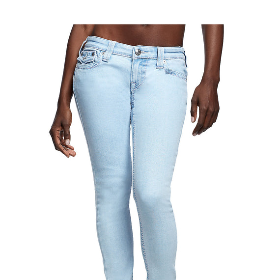 TRUE RELIGION HALLE PINK BIG T W/FLAP WOMENS JEAN, LIGHT BLUE