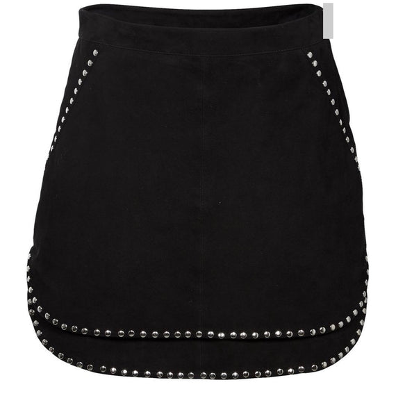Nü DENMARK LEATHER SKIRT, STUDDED, BLACK