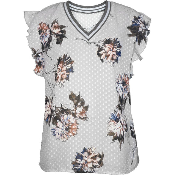 NU DENMARK BLOUSE V NECK RUFFLE SHORT SLEEVE, FLORAL, GREY