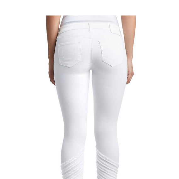 TRUE RELIGION HALLE CROP FRAY SEAMS JEAN, SOFT WHITE