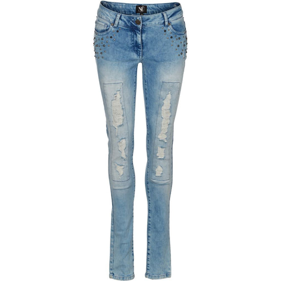 NU DENMARK DENIM STUDDED JEANS, BLUE FOG