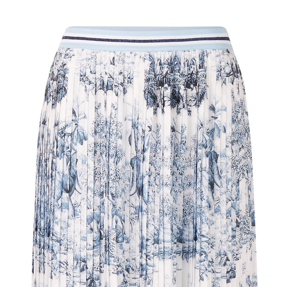 RICH & ROYAL, SKIRT PRINTED PLISSEE SKIRT, DEEP BLUE