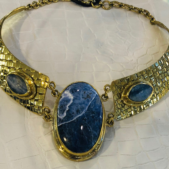 URSULA BADGER BRASS WOVEN CHOKER W 3 KYONITE STONES, BLUE