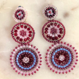 BBE BEADED TRIPLE DISC CLIP ON EARRING, OPAL PINK & BLUE