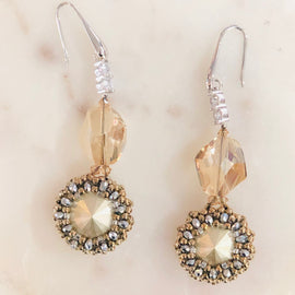 BBE SWAROVSKI & DIAMANTE DANGLING EARRINGS, BRONZE & SILVER