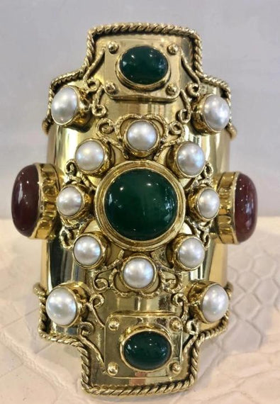 URSULA BADGER BAROQUE STYLE BRASS CUFF, RED GARNET, GREEN JASPER & SEA PEARLS