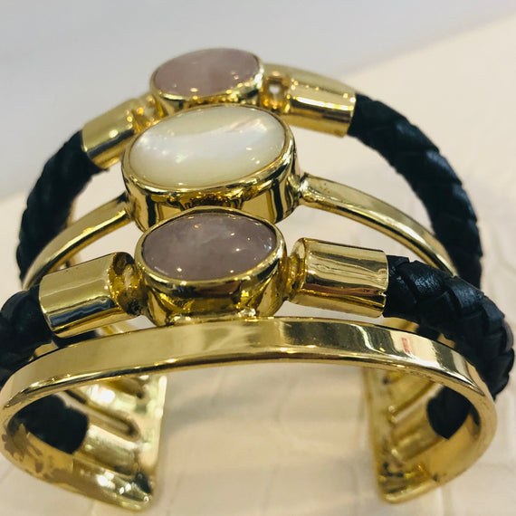 URSULA BADGER TRIPLE BRASS & DOUBLE LEATHER CUFF, ROSE QUARTZ & MOTHER OF PEARL