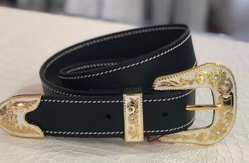 PORTERS GLAM WHITE & GOLD BUCKLE LEATHER BELT, BLACK