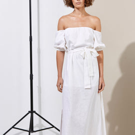 GRACE WILLOW MURPHY DRESS, LONG COTTON & LINEN, WHITE