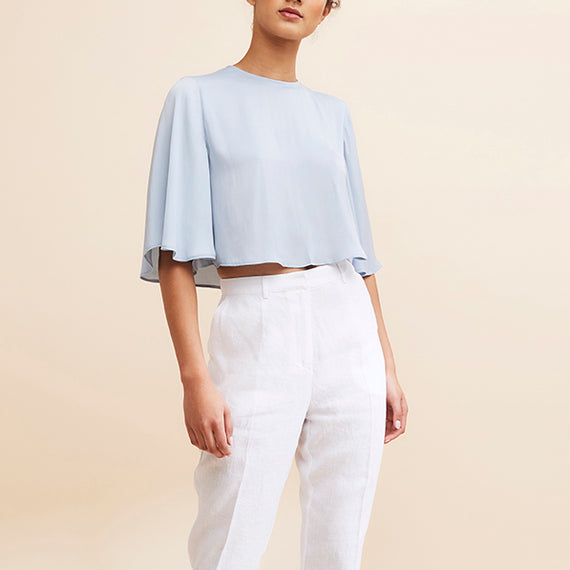 GRACE WILLOW ADRIENNE LINEN PANT, WHITE