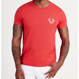 TRUE RELIGION RED DOUBLE PUFF CREW NECK TEE