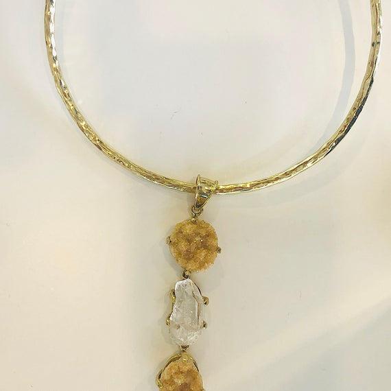 URSULA BADGER HANGING 3 STONE BRASS PENDANT & CHOKER, CITRINE & WHITE CRYSTAL NECKLACE