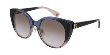 GUCCI SUNGLASSES, SUBTLE CAT EYE FULL RIM, BLUE GRADIANT