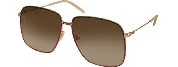 GUCCI SUNGLASSES, METAL GOLD, RED & GREEN FRAME, WHITE EAR CAPS