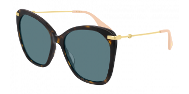 GUCCI SUNGLASSES, HAVANA, GOLD BLUE