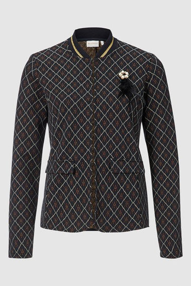 RICH & ROYAL JACKET, JACQUARD WITH LUREX, BROOCH , BROWN & BLACK