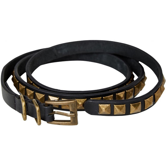 Nü DENMARK ANJASI LEATHER STUDDED THIN BELT, BLACK
