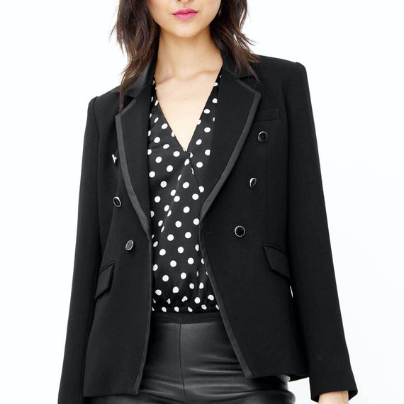 GENERATION LOVE NY, HARPER BLAZER WITH FAUX LEATHER TRIM, BLACK