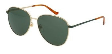 GUCCI SUNGLASSES, (54)-3 GOLD AVIATOR STYLE, GREEN GUCCI FEATURE ON ARM