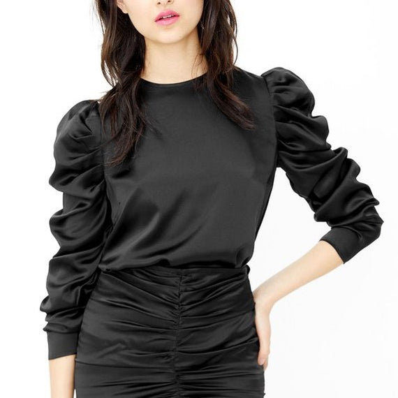 GENERATION LOVE NY, PENELOPE LONG PUFF SLEEVE SILK BLOUSE, BLACK