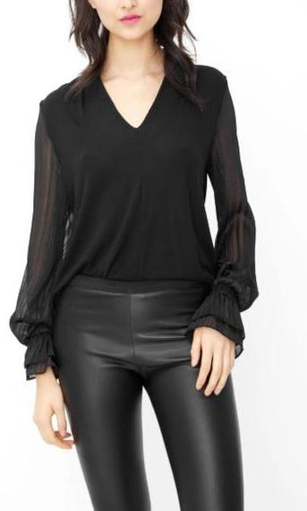 GENERATION LOVE NY, AMANDA LONG SLEEVE V NECK JERSEY TOP WITH LUREX, BLACK