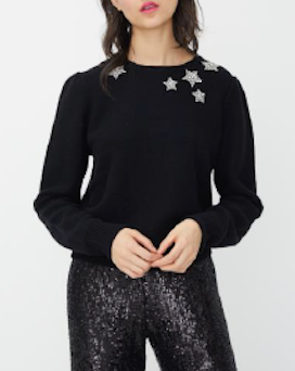 GENERATION LOVE NY, SHAE SWEATER BEADED STARS, BLACK
