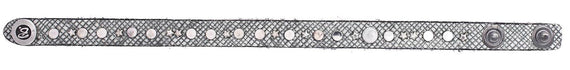 B.BELT CO SAFFIANO EMBOSSED LEATHER BRACELET 10MM, MIXED RIVETS POLISHED SILVER