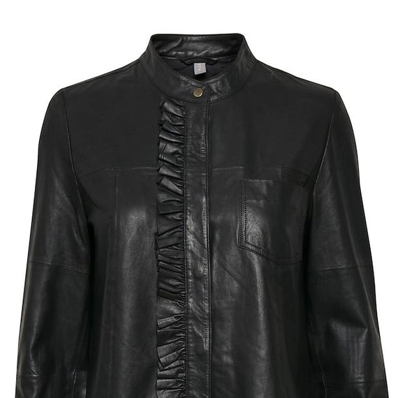 CULTURE DENMARK LEATHER SHIRT, FRILL FRONT FEATURE, BLACK