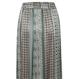 CULTURE DENMARK WRAP PATTERNED SKIRT, PINE GROVE GREEN & ROSE SMOKE