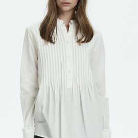 CULTURE DENMARK LONG SLEEVE PLEATED FRONT BLOUSE, FRILLED COLLAR, OFF WHITE