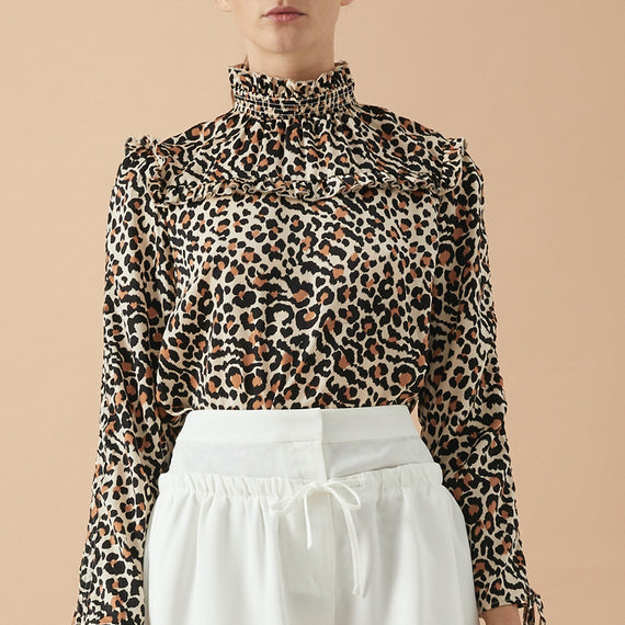 GRACE WILLOW ERROL LONG SLEEVE TOP, LEOPARD PRINT