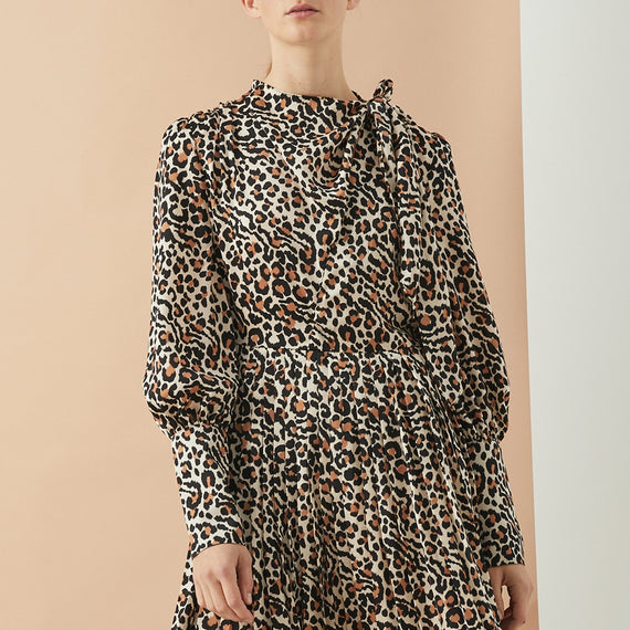 GRACE WILLOW ALEXIS LONG SLEEVE PLEATED SKIRT DRESS, LEOPARD