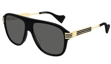 GUCCI SUNGLASSES, BLACK PILOT STYLE BLACK & GOLD ARMS, GOLD GG LOGO, BLACK