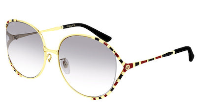 GUCCI SUNGLASSES GOLD ROUND FRAME & RED STRIPES, GOLD GG LOGO ON ARMS, BLACK ARM TIPS