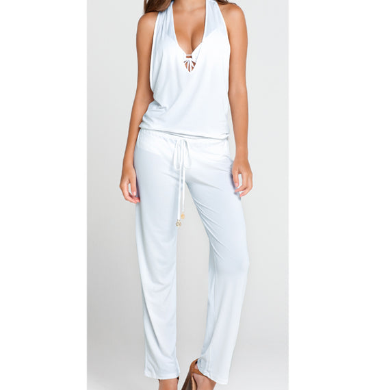 LULI FAMA COSTA BUENA WHITE T-BACK LONG JUMPSUIT