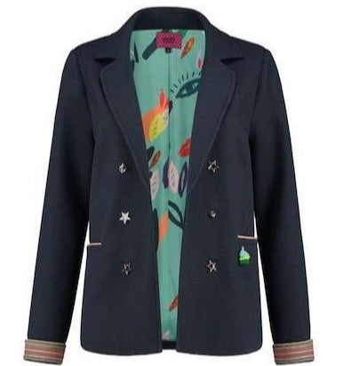 Navy Jacket with Confetti Kisses Lining. POM Amsterdam. Buy POM Amsterdam