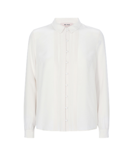MOS MOSH TYRA SILK BUTTON UP BLOUSE, EGG NOG ECRU CREAM