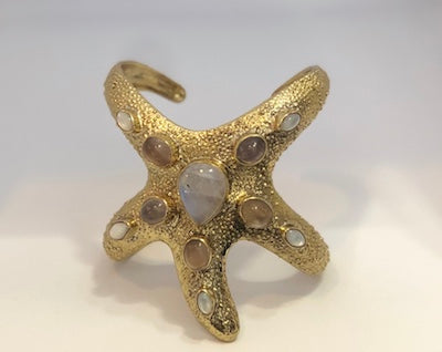 URSULA BADGER STARFISH CUFF, SIGNATURE COLLECTION, AMETHYST, RAINBOW MOON STONES, MOTHER OF PEARL AND FRESH WATER PEARL