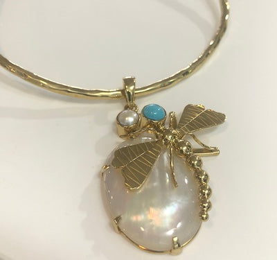 URSULA BADGER BRASS DRAGONFLY PENDANT ON BRASS CHOKER, LARGE STONE & TWO SMALLER ACCENT STONES