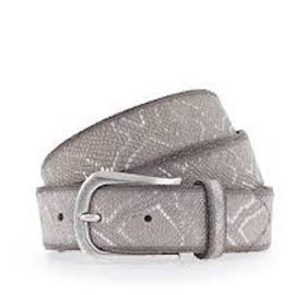 B BELT CO GERMANY METALLIC LEATHER BELT 35MM SNAKE DESIGN WITH SILVER BUCKLE, IVORY SILVER METALLIC